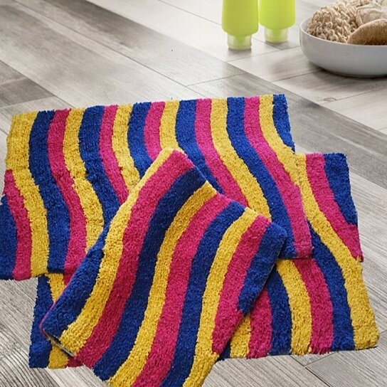 multi colored bathroom rugs buy 3 100 cotton multi color wave bath rugs 20 quot x 19687