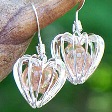 Recycled Pink Depression Glass Heart Cage Earrings