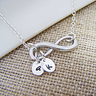 Sterling Silver Infinity Hand Stamped Initial Necklace / Gift for Her