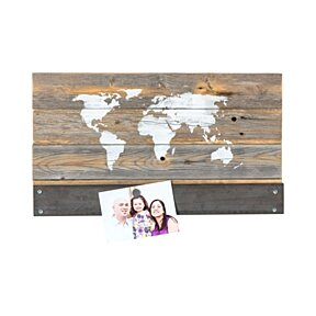reclaimed wood world map
