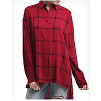 Long Plaid Woven Rayon Shirt-in Cranberry or White.  3 Sizes.