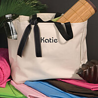 "The Personalized ""Addie"" Embroidered Tote Bag-Large Bag-Available in 6 Colors and Choose from 15 Embroidery Colors."