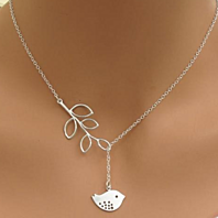 Silver Sparrow Lariat Necklace,  Mod Bird Lariat Necklace Jewelry
