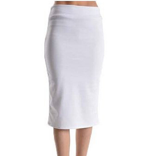 buy below the knee pencil solid color skirt white by