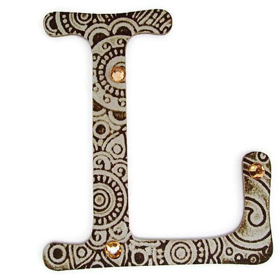 Buy chipboard letter l 4 inch embossed letter jeweled for Embossed letters