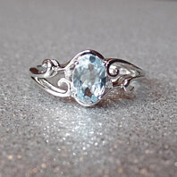 925 Sterling Silver Genuine Diamond & Aquamarine Oval Scroll Ring