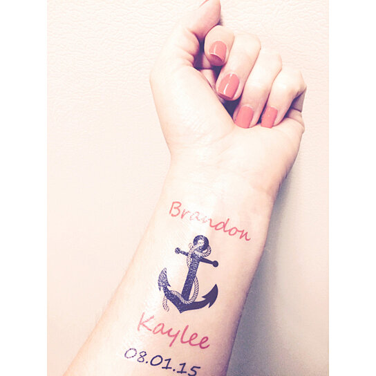 Buy personalized temporary tattoo favors nautical for Temporary tattoos wedding