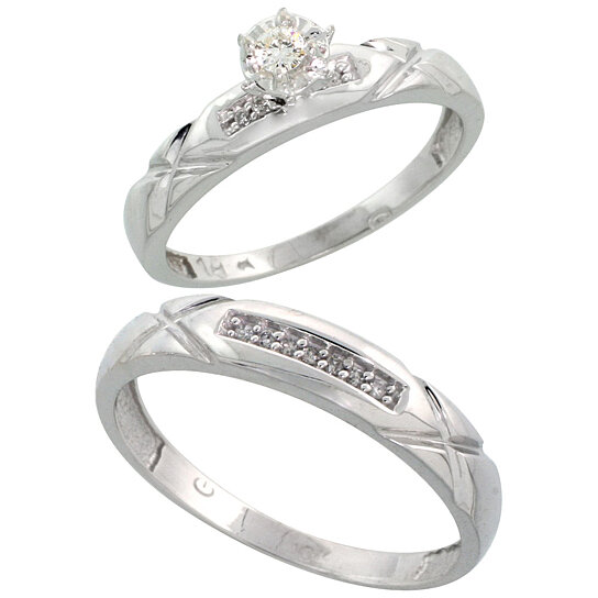 Buy 10k white gold 2 piece diamond wedding engagement ring for Diamond wedding ring for him