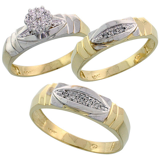 Buy 10k Yellow Gold Trio Engagement Wedding Ring Set for Him and Her 3 piece