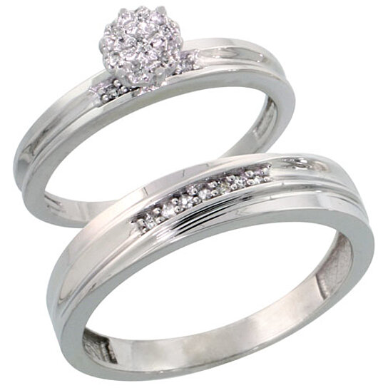 Buy Sterling Silver 2 Piece Diamond wedding Engagement Ring Set for Him and H